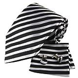 H5148 Black Stripes Formal Wear Silk Tie Cufflinks Hanky Set 3PT By Y&G