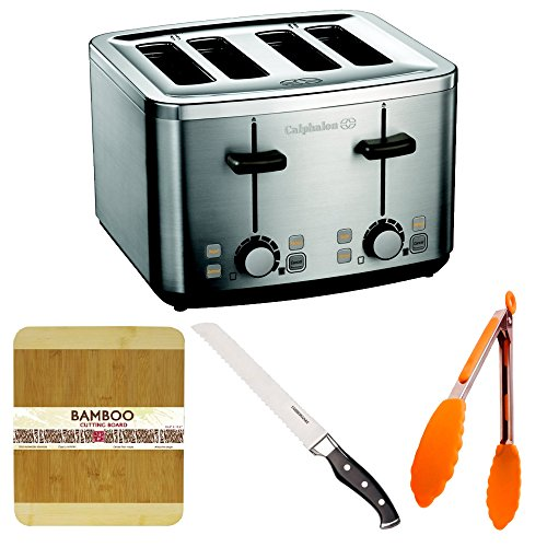 Calphalon 4 Slot Stainless Steel Toaster With Bamboo Cutting Board, Silicone Tongs, And Stainless Steel Bread Knife