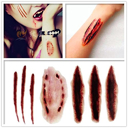 Special Effects - 3D Life-like Vampire Bites Bleeding Werewolf Walking Dead Blood Scratch Wound Scar Halloween Prank Horror Waterproof Temporary Tattoo Sticker Transfers Fake Tattoo Women Men (Goth Halloween Makeup)