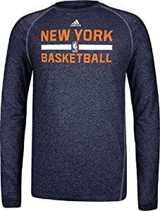 New York Knicks Heather Black Climalite Practice Long Sleeve Shirt by Adidas by GametimeUSA