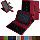 Mama Mouth Rotary Stand PU Leather Case Cover With Removable Micro USB Keyboard for 7 Verizon Ellipsis 7 4g LTE (QMV7A) Android Tablet Rose Red