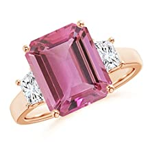 buy Emerald Cut Pink Tourmaline And Trapezoid Diamond Three Stone Ring In 14K Rose Gold