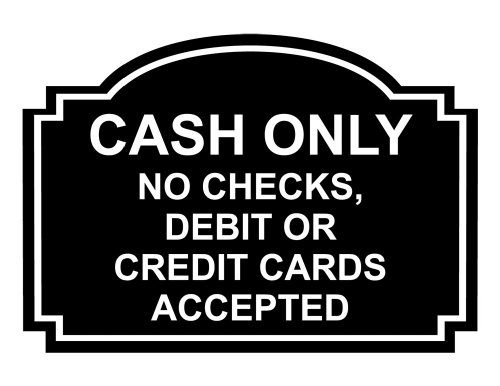 ComplianceSigns Engraved Plastic Payment Policies Sign, 5 x 3.5 Black
