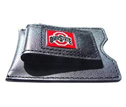 NCAA Ohio State Buckeyes Men's Leather Money Clip and Card Case, 3.5 x 2.75