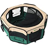 """Amzdeal® 37"""" Fabric Portable Pet Play Pen Kitten Dog Playpen for Puppies, Rabbits and Other Pets- Small, Green"""