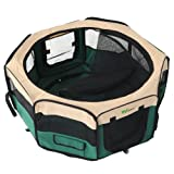 amzdeal Hundetransportbox Hunde Katze Faltbar Transportbox Hundebox Reisebox Kennel mit Größe (Breite:37cm Höhe: 37cm Durchmesser: 92cm) Grün S -