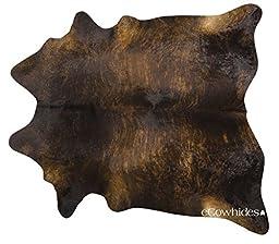 Dark Brindle Brazilian Cowhide Rug Cow Hide Skin Leather Area Rug: XXL