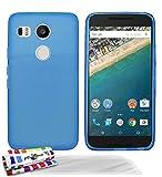Muzzano Le Glossy Coque souple avec Stylet/Chiffon Bleu + UltraClear Pack de 3 Films de Protection d'�cran pour Google/LG Nexus 5X