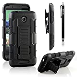 HTC Desire 510 Case, RANZ® Black Rugged Impact Armor Hybrid Kickstand Cover with Belt Clip Holster Case For HTC Desire 510( AT&T, Virgin, Sprint, Cricket ) with Touch Stylus