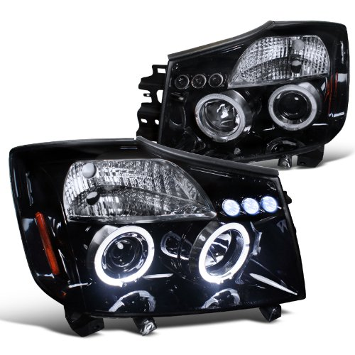 Spec-D Tuning 2LHP-TIT04G-TM Nissan Titan Se Xe/ Armada Halo Led Projector Headlights Smoked (04 Nissan Titan Halos compare prices)
