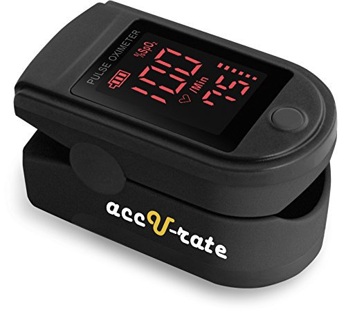 CMS 500DL Generation 2 Fingertip Pulse Oximeter Oximetry Blood Oxygen Saturation Monitor with silicon cover, batteries and lanyard (Mystic Black)