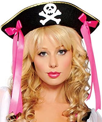 Roma Costume Women's Buccaneer Hat Gold Trim Pirate Hats Black/Gold/Pink from Roma Costume
