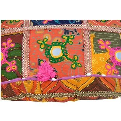 Indisches Meditationskissen 40x40cm orientalisches Baumwoll-Patchwork Sitzkissen Stoff-Faser