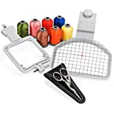 Cap Hat Embroidery Hoop Package – Includes Free Sock Hoop, 7 Spools of Embroidery Thread and Embroidery Scissors