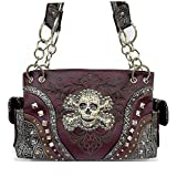 Dark Purple Skull Studded Conceal and Carry Purse