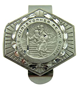 """Saint St Christopher Be My Guide Protection 1 1/2"""" Pewter Religious Auto Visor Clip"""