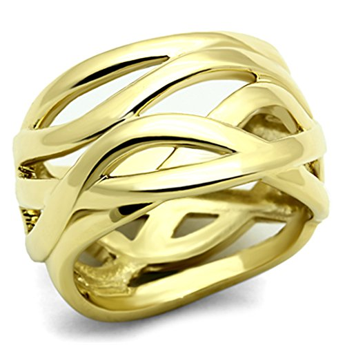Marimor Jewelry Women'S Stainless Steel 316 14K Gold Ion Plated 13Mm Wide Fashion Ring Bamd