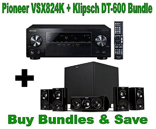 Pioneer VSX-824 5.2-Channel Network A/V Receiver (Black) + Klipsch HDT-600 Home Theater System Bundle