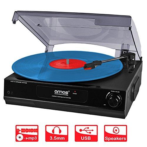 AMOS-USB-Giradischi-3-Velocit-Disco-Vinile-Retro-LP-Lettore-Registratore-Vinile-a-MP3-Convertitore-Digitale-con-Altoparlanti-Stereo-e-Uscita-RCA-Audacity-Software
