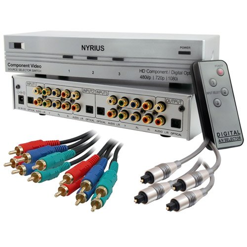 Nyrius HD Ready Component Video Source Selector Switch (SW201) with Bonus 4 Pack of 6 Foot Component Video Cables (RGBCAB6E) & Bonus 4 Pack of 6 Foot Toslink to Toslink Fiber Optic Digital Audio Cables (TOSCAB6E)