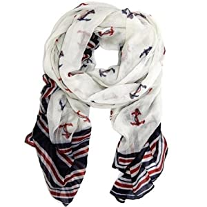 Peach Couture® Nautical Anchor Patriotic All American Navy Scarf/wrap/shawl (Red/white/blue)