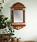 Unravel India Warli Painted Wooden Wall Mirror Multicoloured