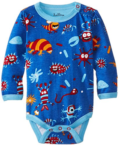 Hatley - Baby Boys Newborn Long Sleeve One Piece Microscopic Creatures, Blue, 6-12 Months back-1044198