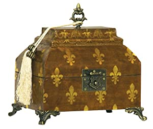 Sterling Home 89-2702 Wood Footed Brooch Box with Fleur de Lis Pattern, 9-1/2-Inch Long by 7-3/4-Inch Tall