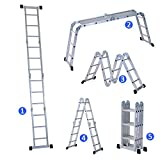HOMCOM 3.7M 4-Section 12 Steps Multi-purpose Folding Aluminium Ladder with 2 Working Plates