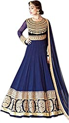 Shoppingover Indian Ethanic Anarkali Suit Georgette Fabric-Blue Color