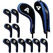 Andux Number Print Golf Iron Covers With Zipper Long Neck 12pcs/set Black/blue Mt/w07+2LW