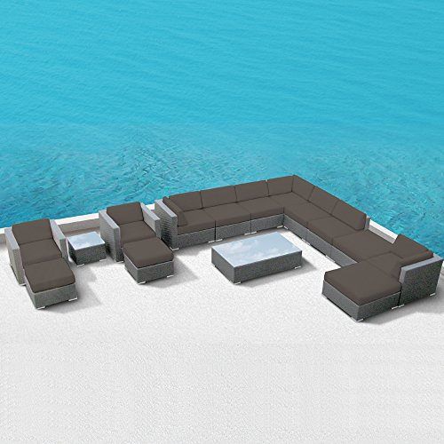 Luxxella Patio Bella 15Pcs Outdoor Furniture All Weather Wicker Couch Sofa Set (Dark Grey)