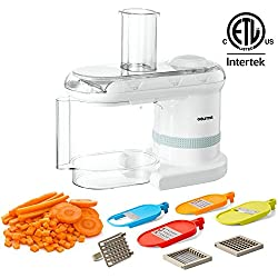 Gourmia GMS100 Power Dicer Plus Multi-Purpose 5 in 1 Electric Mandoline Food Dicer Chopper Slicer Grater and Shredder - Includes 6 Blades