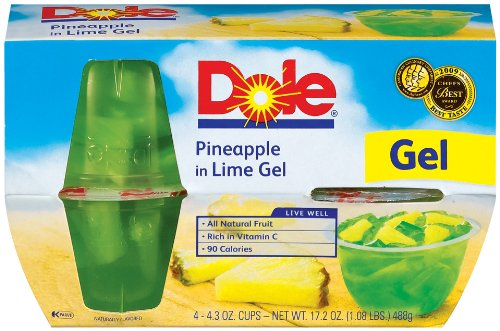 Dole Pineapple in Lime Gel 4 3 Ounce Packages Pack of 24