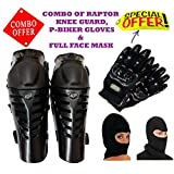 COMBO OF FOX RAPTOR KNEE GUARD BLACK ,P-BIKER GLOVES BLACK L & FULL FACE MASK