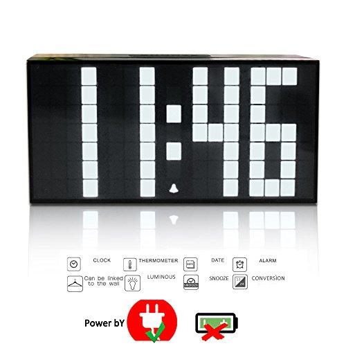 T Tocas 16,5 centimetri Big Numbers LED digitale Snooze parete Desk ore / minuti Orologi w / orologio, calendario, termometro, Interni Casa