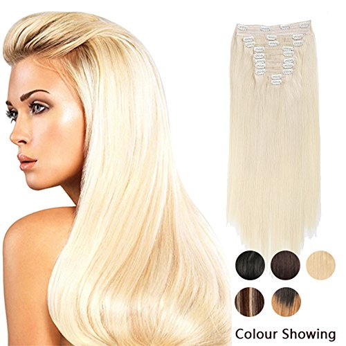 CLIP IN SETS 10PCS CLIP IN HUMAN HAIR EXTENSIONS BLONDE 613# REMY HUMAN HAIR STRAIGHT FOR FULL HEAD 20inch 220g Weight (Hair Extentions Full Head compare prices)