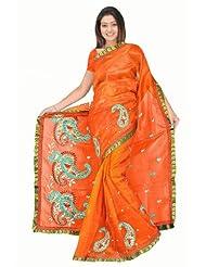 Sehgall Sarees Super Net Saree Attached Brocket Border And Blouse Orange Saree - B00JUH6VNY