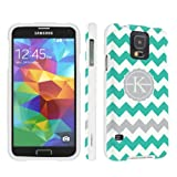 SkinGuardz Samsung Galaxy S5 Hard Protection Case - (Mint Chevron Monogram Initial K White)