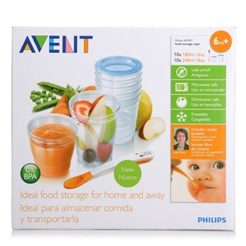 Philips Avent Scf720/10 VIA Baby Food Storage Set (Cups Lids Spoon) Best Quality Original From United Kingdom Fast Shipping (Philip Baby Food compare prices)