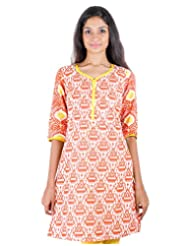 Casual Cotton Orange Printed Short Kurti From ESTYLe