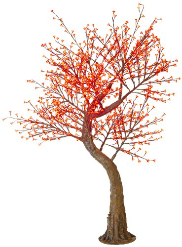 Arclite Nbl-200-1 Cherry Blossom Tree With Leaves, 7' Height, With Natural Brown Trunk, Red Crystals And Red Lights