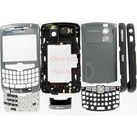 Tatinium AT&T GSM Original OEM Full Complete Case Housing for Rim BlackBerry Curve 8300 8310 8320 Cover Faceplate with Lens Trackball Keypads Keyboard Speaker Mic