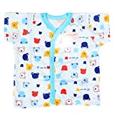 Baby Bucket Half Sleeve Front Open Printed Jabla New Born (Blue)