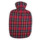 Warm Tradition Red Tartan Plaid Cotton Flannel Covered Hot Water Bottle - Bottle Made in Germany, Cover Made in USA