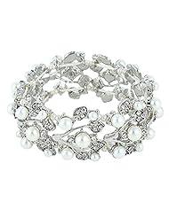 Ever Faith Silver-Tone Crystal Simulated Pearls Stretch Bridal Bracelet Clear - Silver-Tone N04582-1
