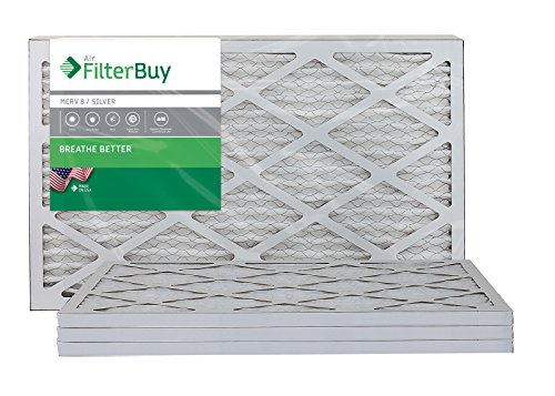 AFB Silver MERV 8 15x25x1 Pleated AC Furnace Air Filter. Pack of 4 Filters. 100% produced in the USA. (Air Filter 15x25x1 compare prices)