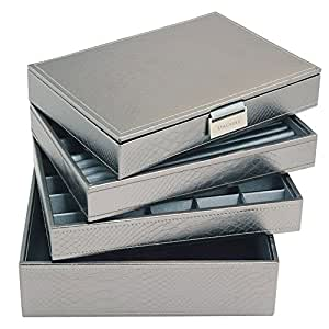 ** NEW ** PEWTER METALLIC Stackers Jewellery Box SET Includes all 4 trays as Shown