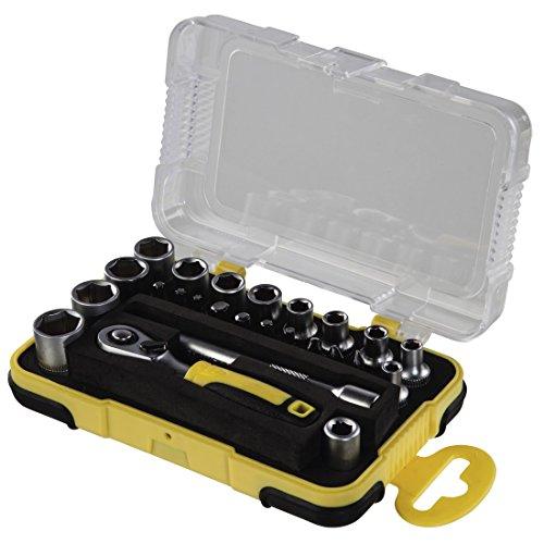 Hama-Mini-Steckschlsselsatz-Set-25-teilig-14-Zoll-Werkzeug-Set-fr-Fahrrad-Motorrad-Modellbau-Haushalt-mit-Ratsche-Bits-Adapter-Verlngerung-und-Aufbewahrungsbox-14-Zoll-schwarzgelb