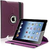 eForCity 360-Degree Swivel Leather Case for Apple iPad2/3/4, Purple (PAPPIPADLC45)